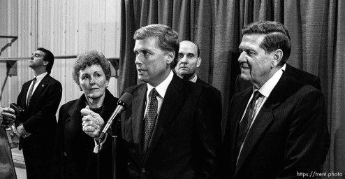 Vice President Dan Quayle. To the right is Karl Snow. In back is Jake Garn.