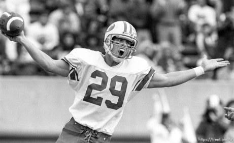 Receiver celebrates touchdown at BYU vs. Utah.