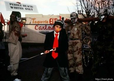 Kid dressed as Dan Quayle during Anti war Gulf War protests.