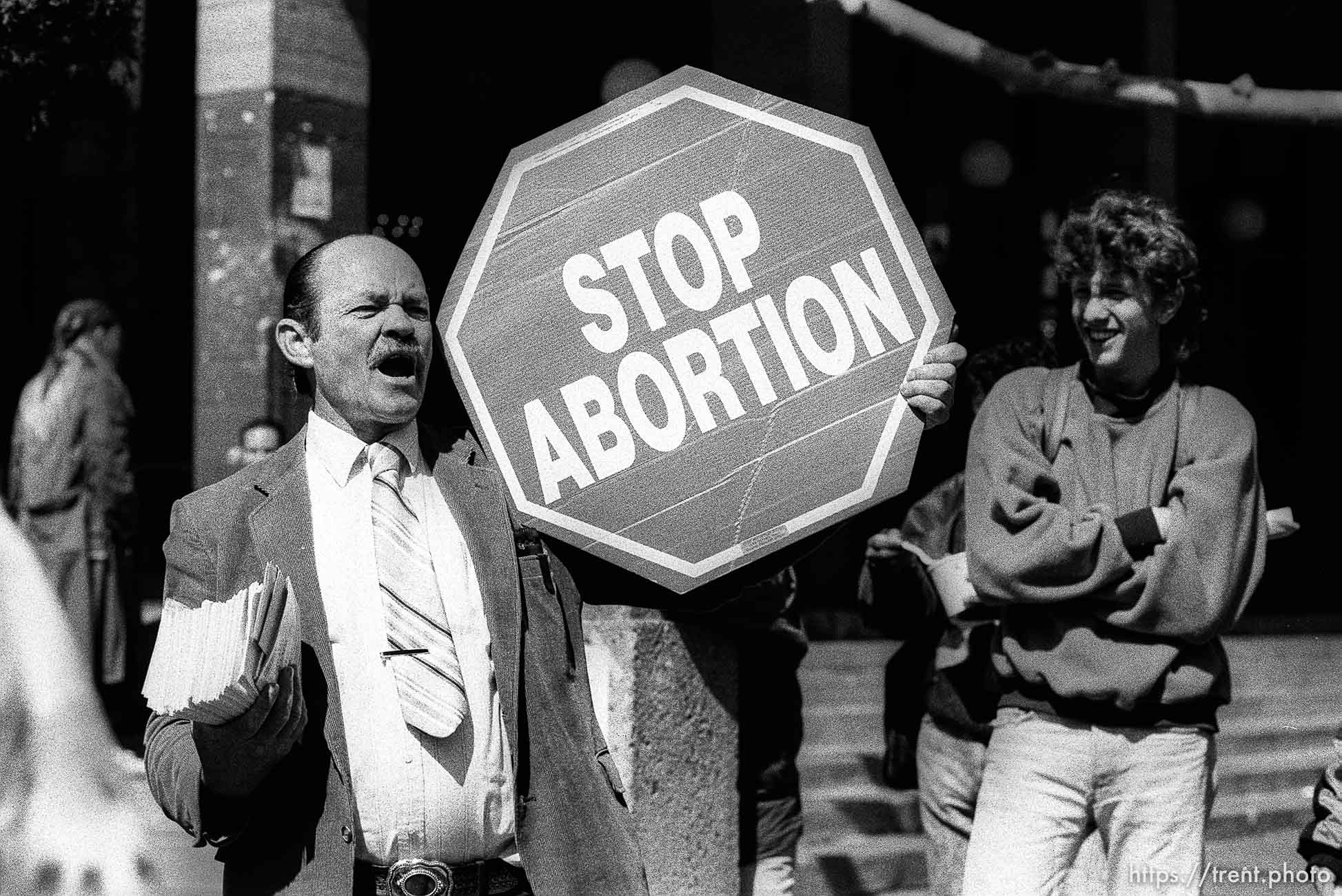 People laugh at anti-abortion protester