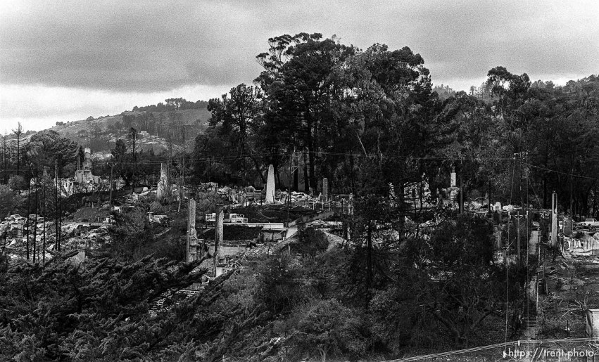 Remains of burned homes after the Oakland Hills Fire.