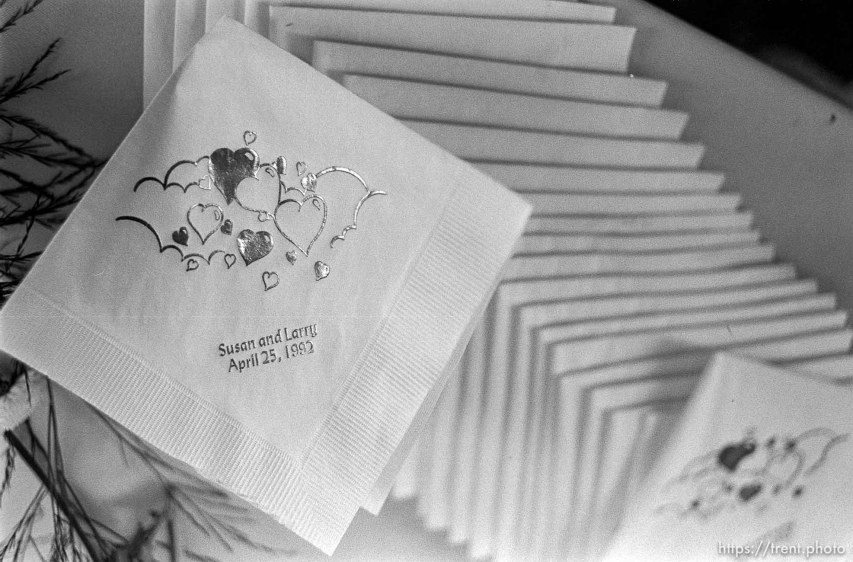 Larry Allen napkins at Larry Allen's wedding