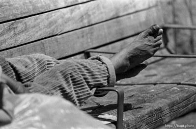 Homeless man's bare feet