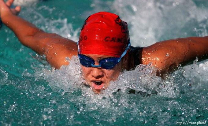 Swimming action at Acalanes vs. Campolindo.