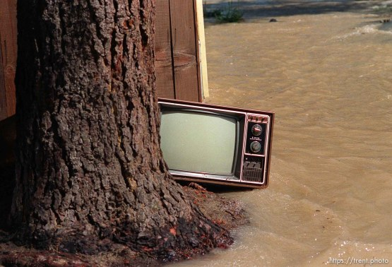Television in water at home flooded by broken water main.