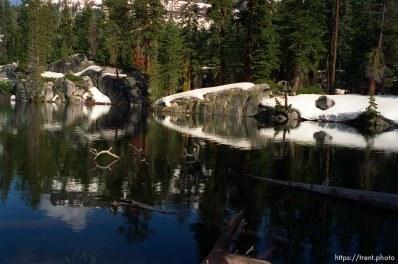 Snow on rocks on solo hike to Sword Lake
