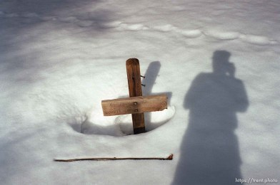 Trent shadow and Sword Lake sign on solo hike to Sword Lake