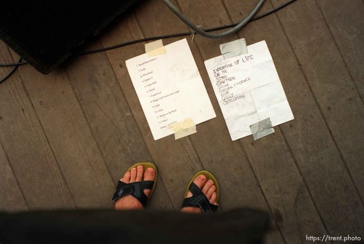 song lists at Bands in a Blender concert.