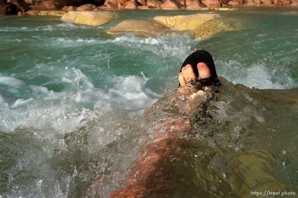 Trent feet in the blue water of the Little Colorado. Grand Canyon flood trip.