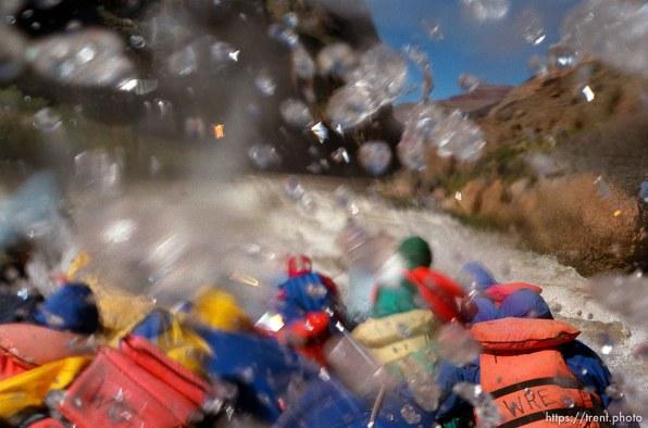 Splashing water in rapid. Grand Canyon flood trip.