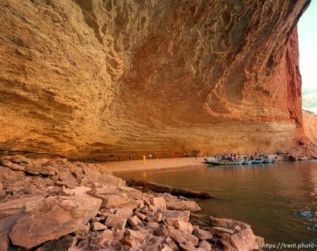 People at Redwall Cavern. Grand Canyon flood trip.
