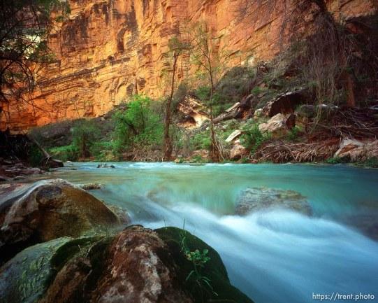 Blue water and canyon walls in Havisu Canyon. Grand Canyon flood trip.