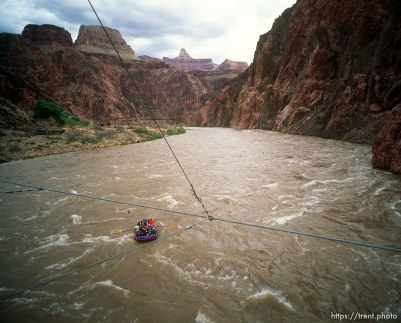 Rafts in water. Grand Canyon flood trip.