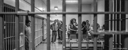 Inmates in Cellblock 1, Utah County Jail, where they receive minimal supervision. Believe it or not, this is a different phot that the one Ryan Miller did for us. Probably the same cell, though. photo by trent nelson 19960321