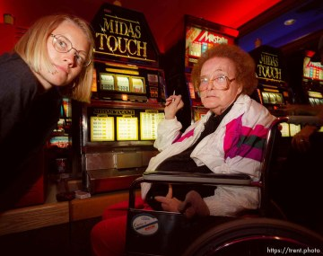 Tribune reporter Lili with old lady gambling and smoking.