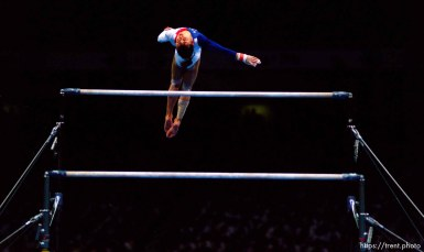Dominique Moceanu on bars at Womens Team Gymnastics at the 1996 Summer Olympic Games