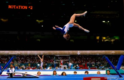 Kerri Strug on beam at Womens Team Gymnastics at the 1996 Summer Olympic Games