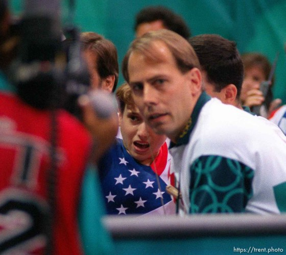 Injured Kerri Strug at Womens Team Gymnastics at the 1996 Summer Olympic Games