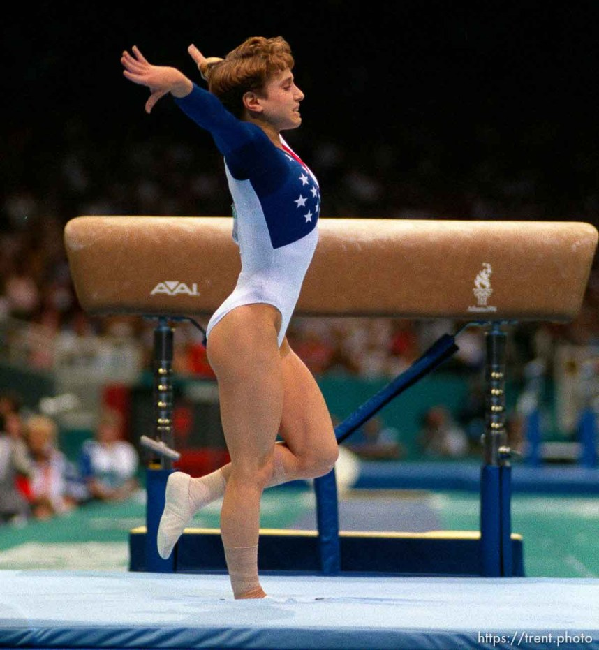 Kerri Strug's heroic vault on injured foot to secure gold medal for US team at Womens Team Gymnastics at the 1996 Summer Olympic Games