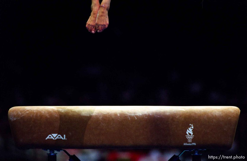 Gymnast's feet on vault at Womens Team Gymnastics at the 1996 Summer Olympic Games