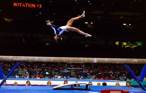 Dominique Moceanu on beam at Womens Team Gymnastics at the 1996 Summer Olympic Games
