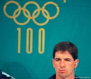 John Stockton at the Dream Team press conference at the 1996 Summer Olympic Games