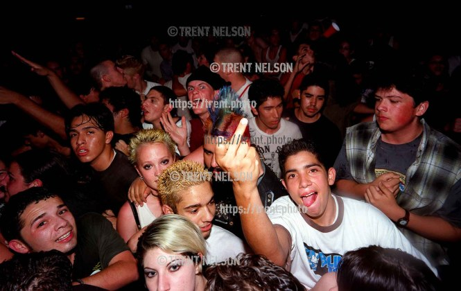 Crowd at Voodoo Glow Skulls, Showcase Cafe. Guy flips me off