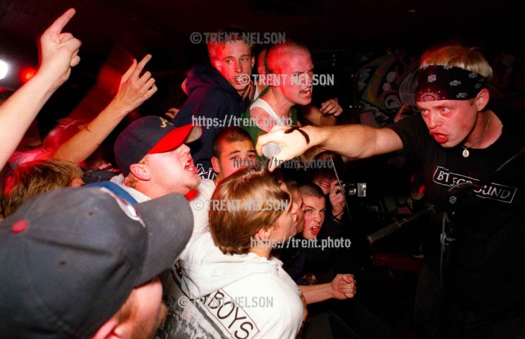 Legendary straightedge band Earth Crisis, with singer Karl Buechner, performing at the Bar & Grill in Salt Lake City, Utah, November 27, 1996.