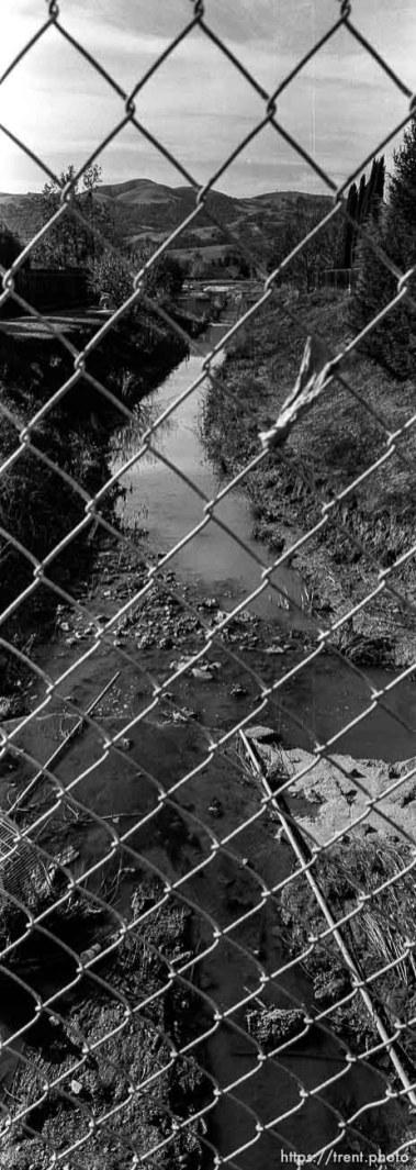 View of San Ramon Creek through chain-link fence