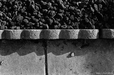 Lava rock, brick, sidewalk