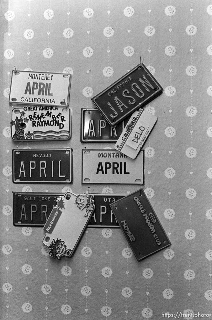 License plates in April Nelson's room.