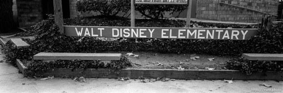 """Walt Disney Elementary"" sign at Walt Disney Elementary School."