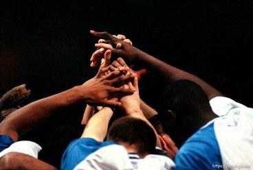Kentucky players' hands at Utah vs Kentucky, NCAA Tournament