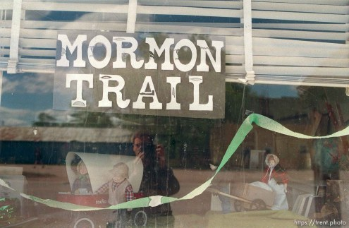 Mormon Trail display in Broadwater Library window.