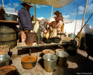 Cooking dinner for the Mormon Trail Wagon Train.