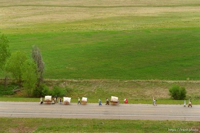 Mormon Trail Wagon Train seen from a grain elevator at Jack's Bean Company.