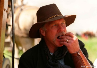 Tom Whitaker during a lunch break on the Mormon Trail Wagon Train.