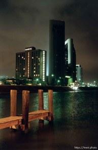 City skyline at night.