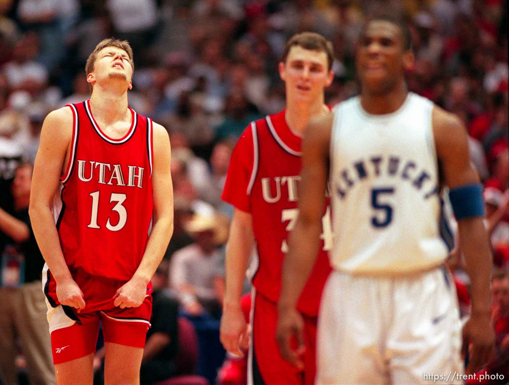 Hanno Mottola and Drew Hansen during the closing moments of their loss at Utah vs. Kentucky at the NCAA championship game.