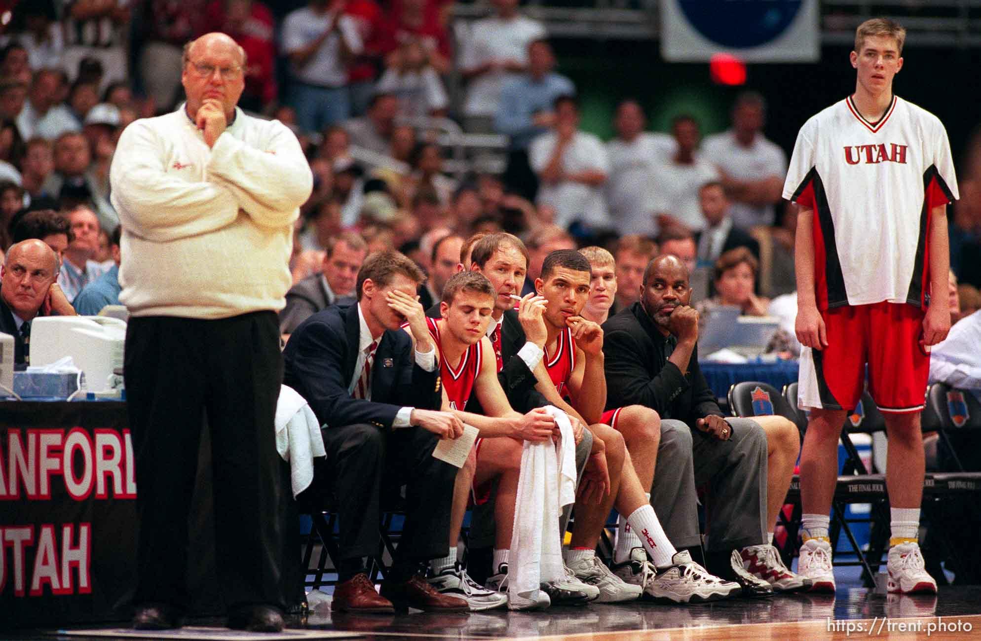 Utah bench and coach Rick Majerus at end of loss at Utah vs. Kentucky, NCAA championship game.
