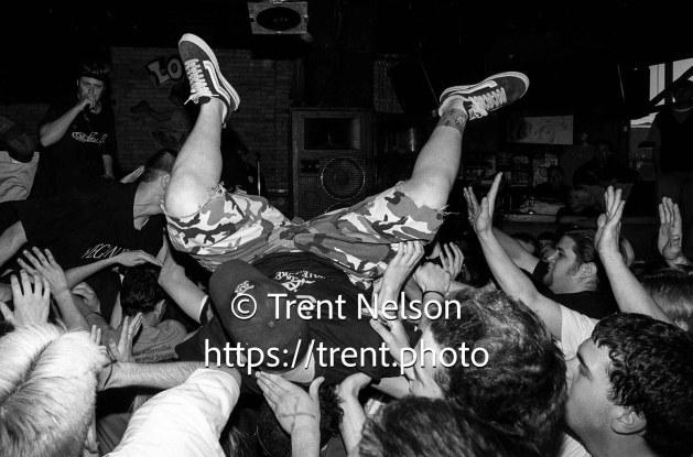 Stage diver at Earth Crisis at Brick's Club.