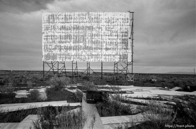 Old drive-in theater screen