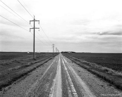 View down dirt road towards farm.