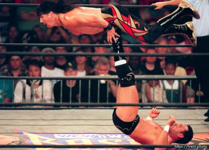 Chavo Guerrero Jr. flips Eddie Guerrero at WCW's Bash at the Beach.