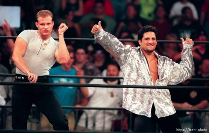 Alex Wright and Disco Inferno at WCW's Bash at the Beach.