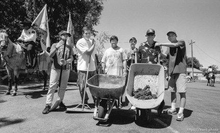 Manure squad group shot at the 4th of July parade on Main Street.