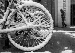 Snow on a bike tire.