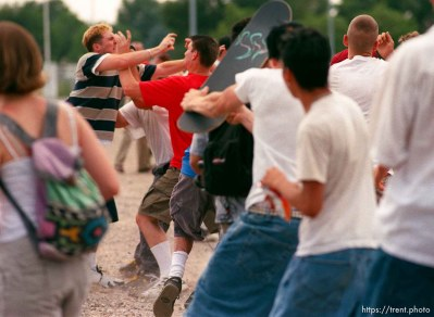 Straightedge kids stomp someone at the Vans Warped Tour.