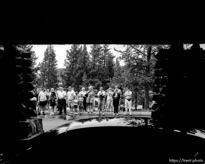Tour group at the Old Faithful Lodge.