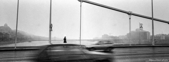The Elizabeth Bridge, a pedestrian, and snow.